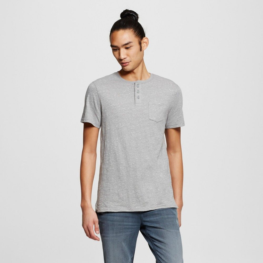 Men's Short Sleeve Henley T-Shirt Gray M - Mossimo Supply Co.