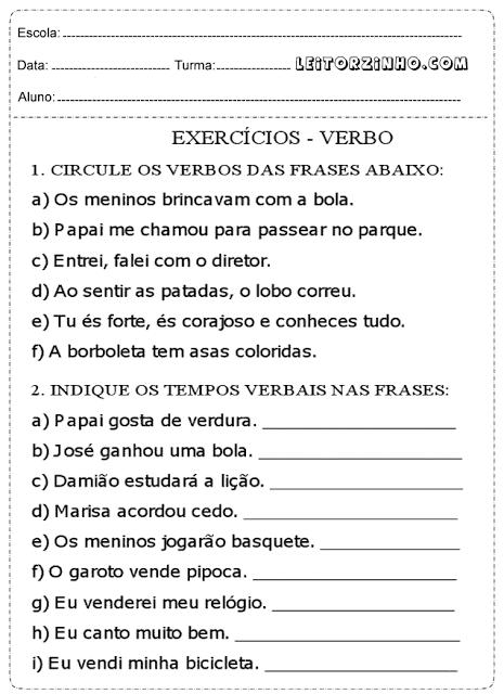 Circule os verbos das frases