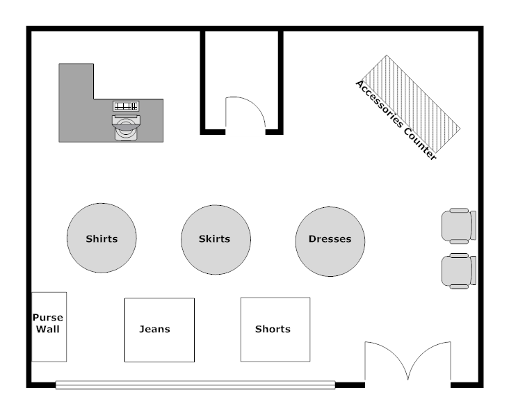 Example image clothing store layout minimalist living for Retail store floor plan