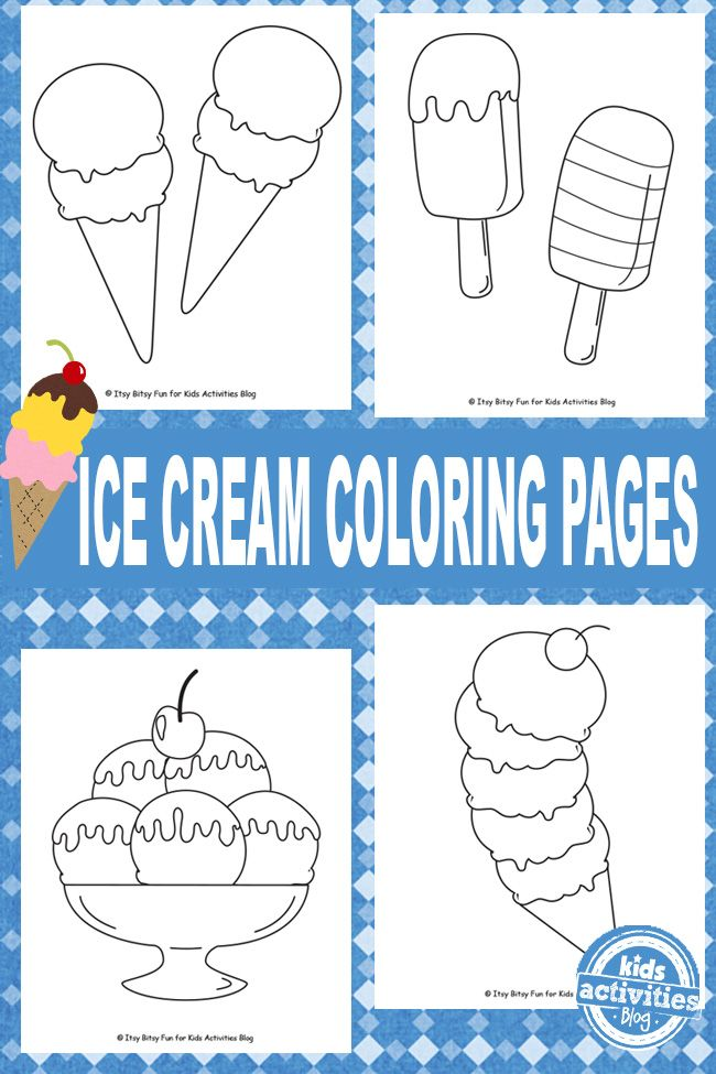 ICE CREAM COLORING PAGES {FREE KIDS PRINTABLE} | Pinterest | Boredom ...