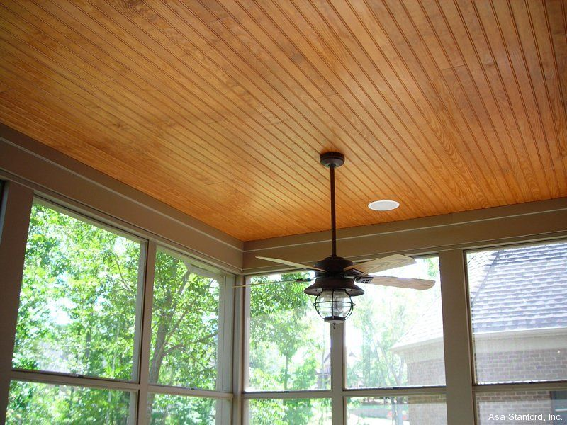 Stained beadboard ceiling for back porch our weekend for Balcony ceiling