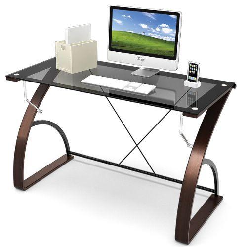 Contemporary Brown And Glass Computer Desk Modern Glass Desk