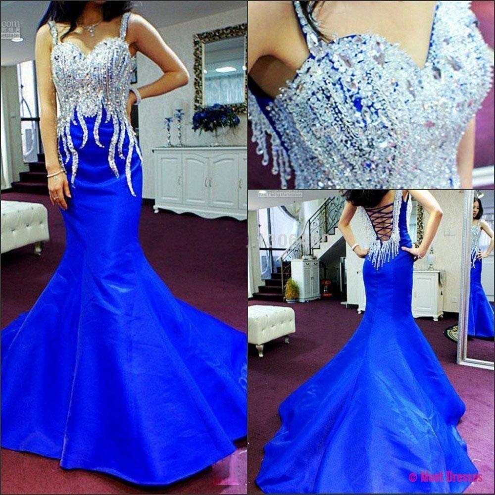 Royal blue prom dressmermaid prom dresstaffeta prom gownbackless