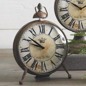 Distressed Brown Metal Table Clock Table Clock Metal Table Clock