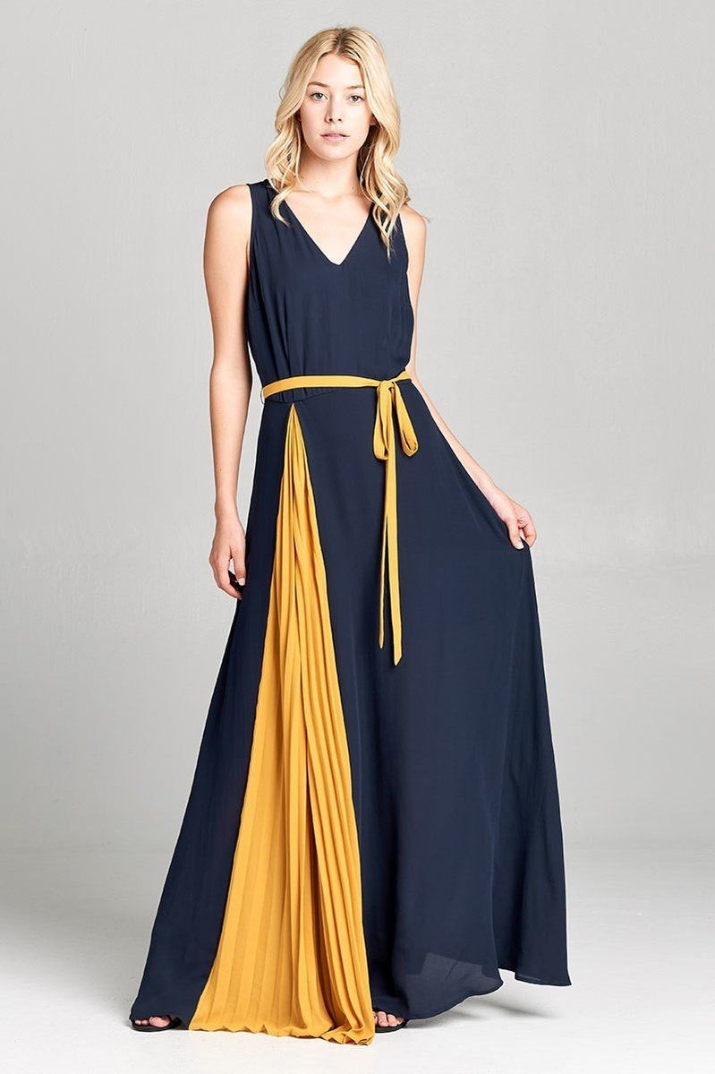 Contrast Pleated Panel Two Tone Maxi Dress In Washed Crepe Fabric This Sleeveless Maxi Dress Features A Classic V Neckli Maxi Dress Tall Women Fashion Dresses