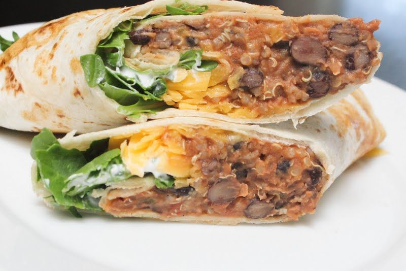 A Little Of This Spicy Quinoa And Black Bean Burritos Bean Burritos Recipes Food