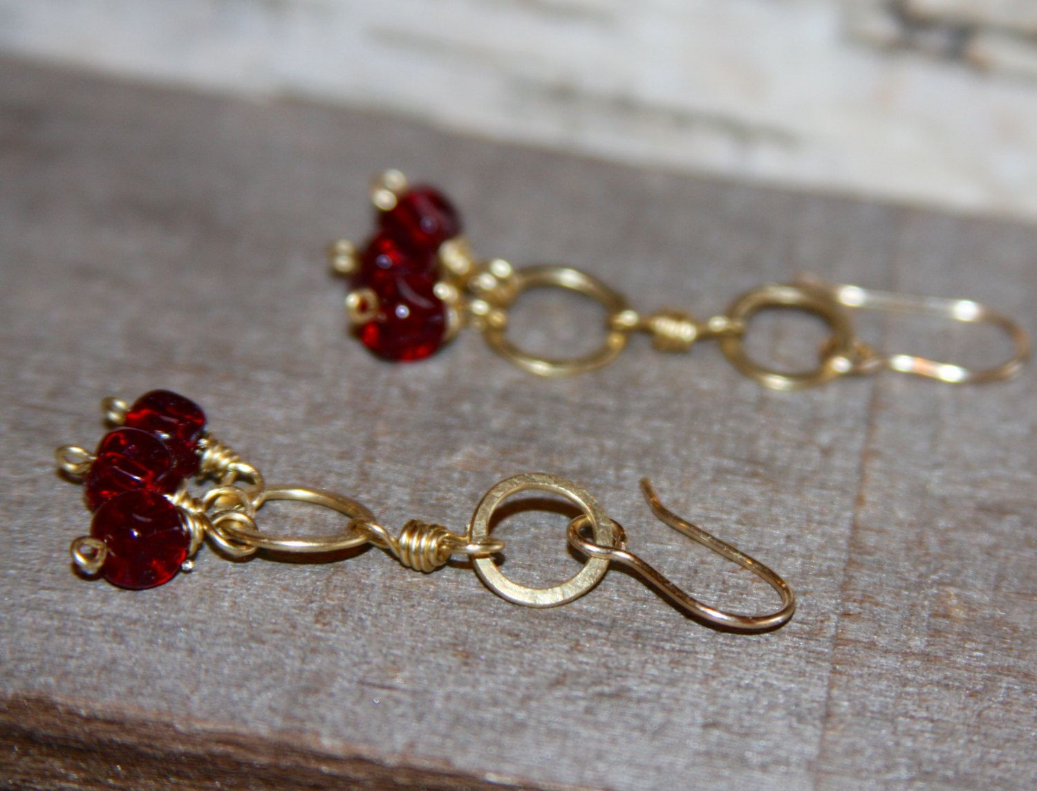 Red Cluster Gold Circle Dangle Earrings, Dangle Earrings, Gifts For Her,  Gifts By