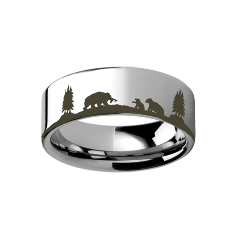 Animal Scene Bears Bear Cubs Canvas Ring Engraved Flat Tungsten Ring - 4mm - 12mm