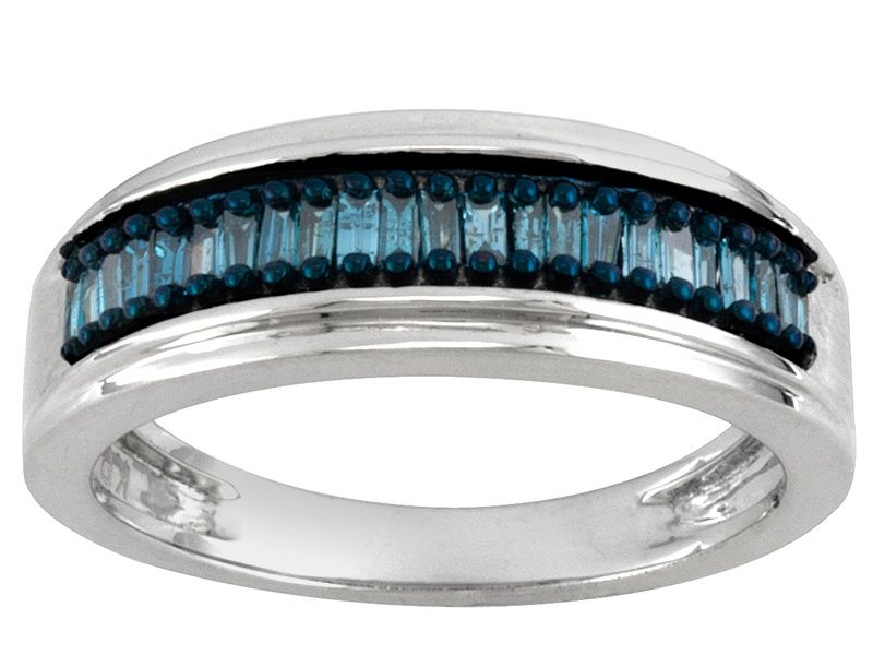 de58bf2e7 BLUE VELVET DIAMOND™ .25CTW BAGUETTE RHODIUM OVER STERLING SILVER RING