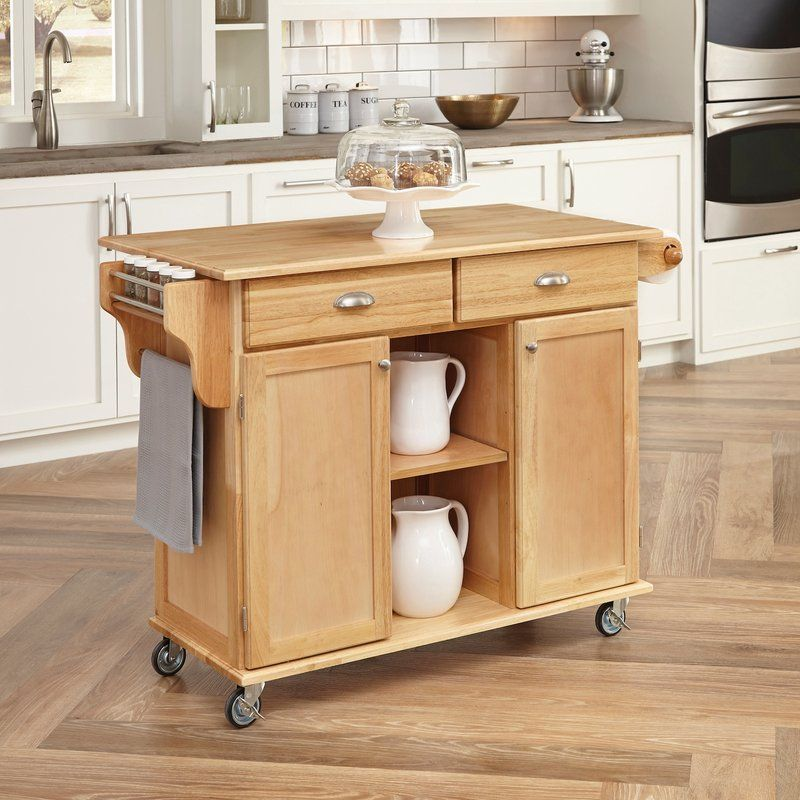 August Grove Lili Kitchen Island with Wood Top  Reviews Wayfair