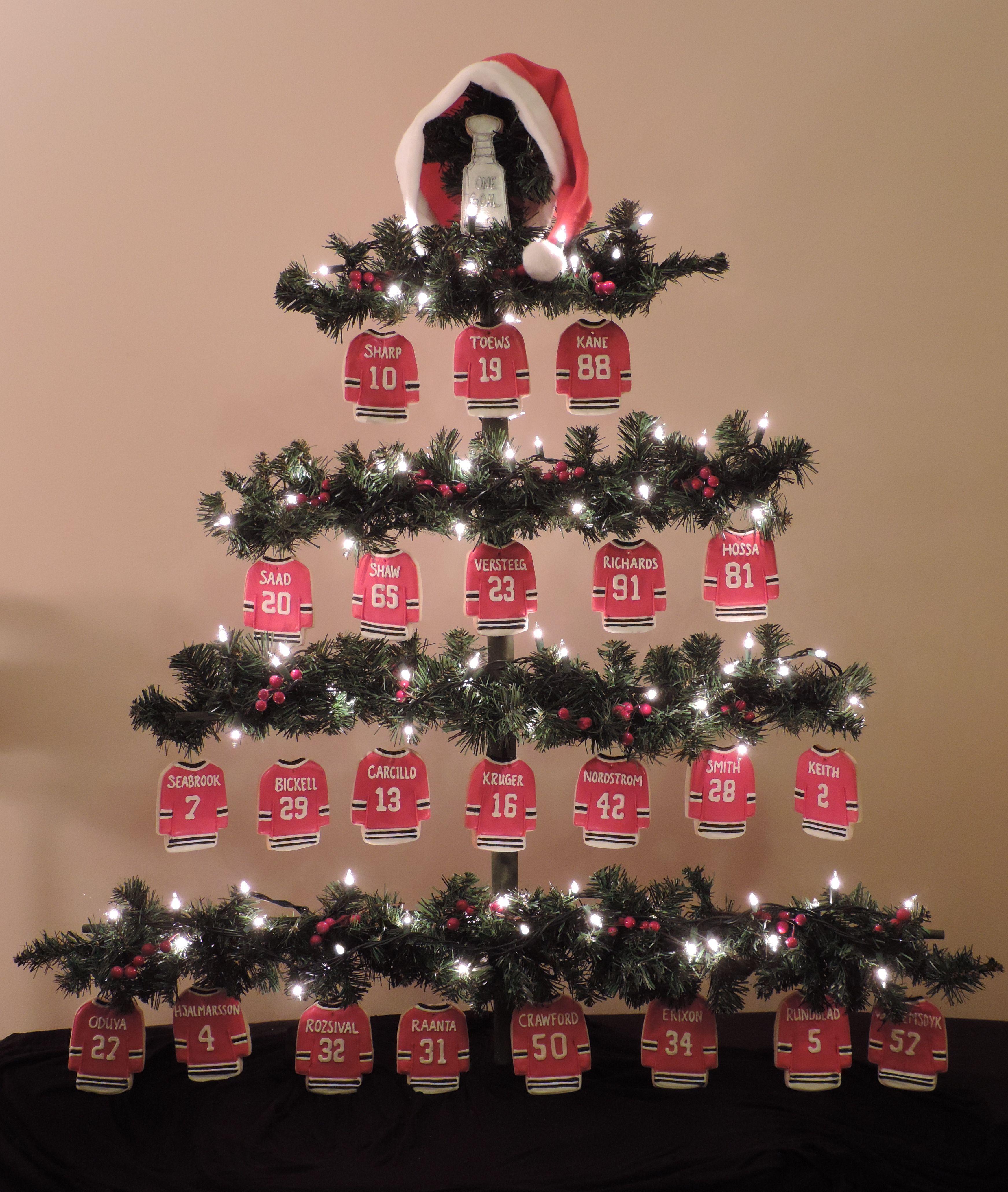 blackhawks jersey cookie christmas tree - Blackhawks Christmas