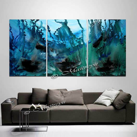 """Teal Seascape Contemporary Modern Artwork 20/""""x30/"""" Canvas Picture Wall Art Print"""