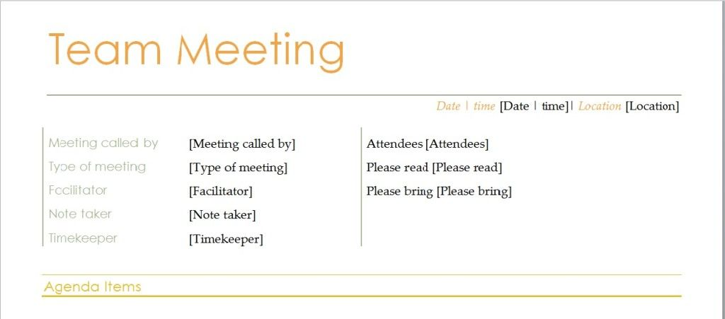 Team Meeting Agenda Template  Business Meeting Agenda Template Word