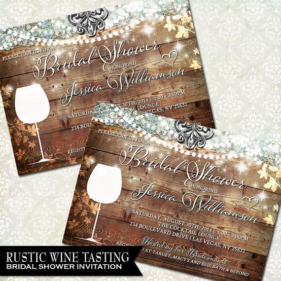 wine bridal shower invite vineyard wedding winery wedding theme wine tasting party rustic bridal shower invitation thank you card set