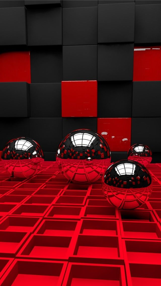 3d Black And Red Iphone Wallpaper: !!TAP AND GET THE FREE APP! Art Geometric Red Black 3D HD