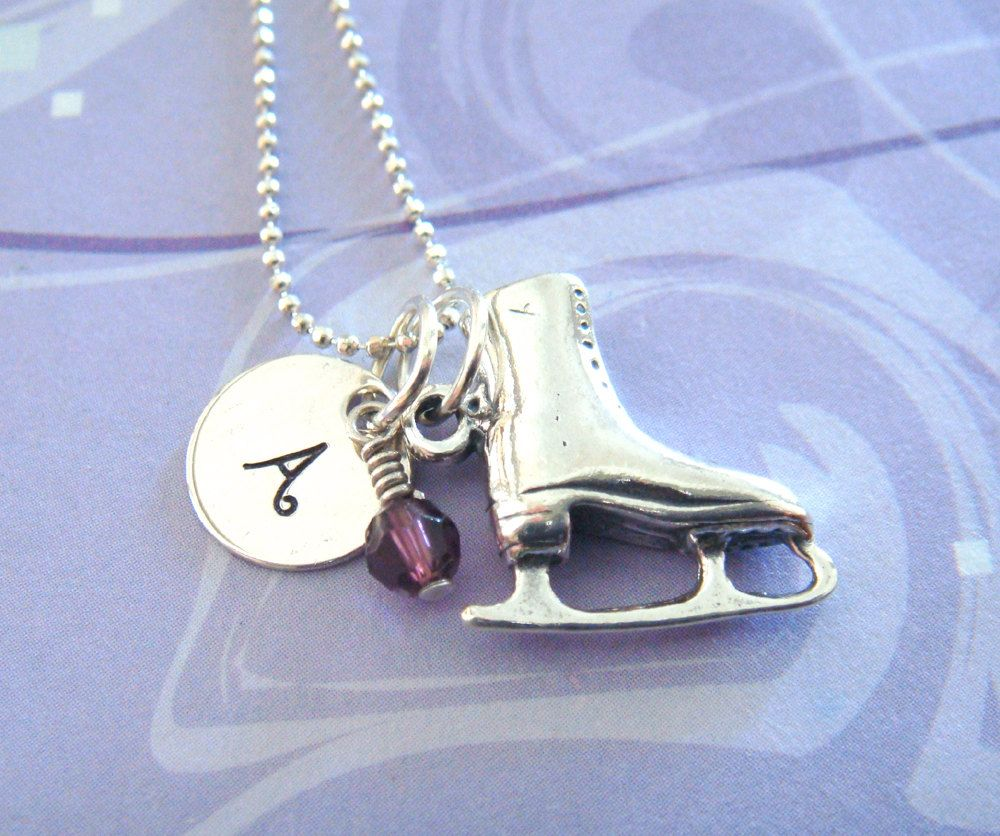 Figure skater necklace hand stamped jewelry by kristylynnjewelry figure skater necklace hand stamped jewelry by kristylynnjewelry 3500 aloadofball Gallery