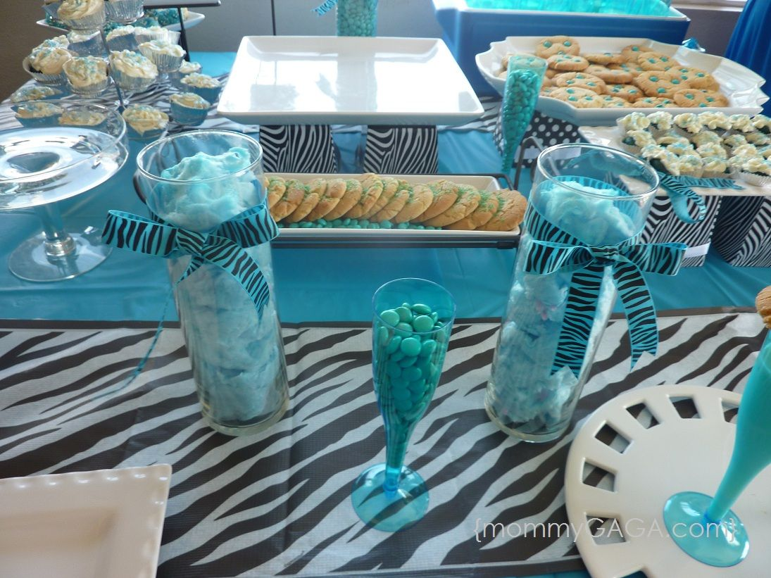 Zebra blue unique baby shower theme for boys unique - Unique girl baby shower themes ...