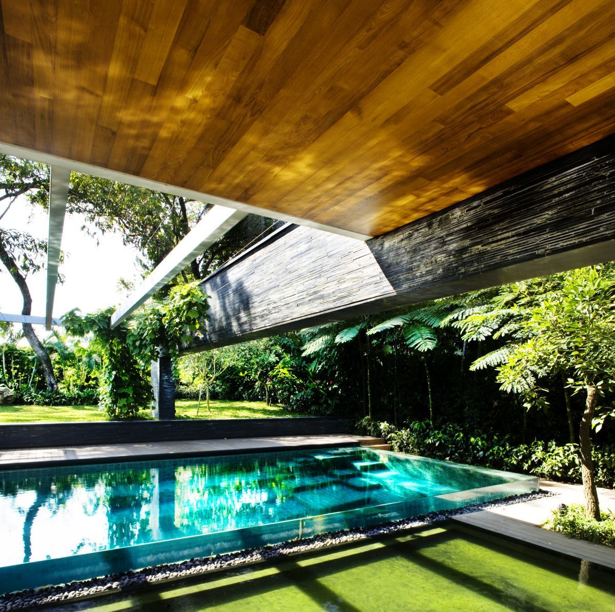 pool entrance of Luxury Green House Ideas with Natural Courtyard