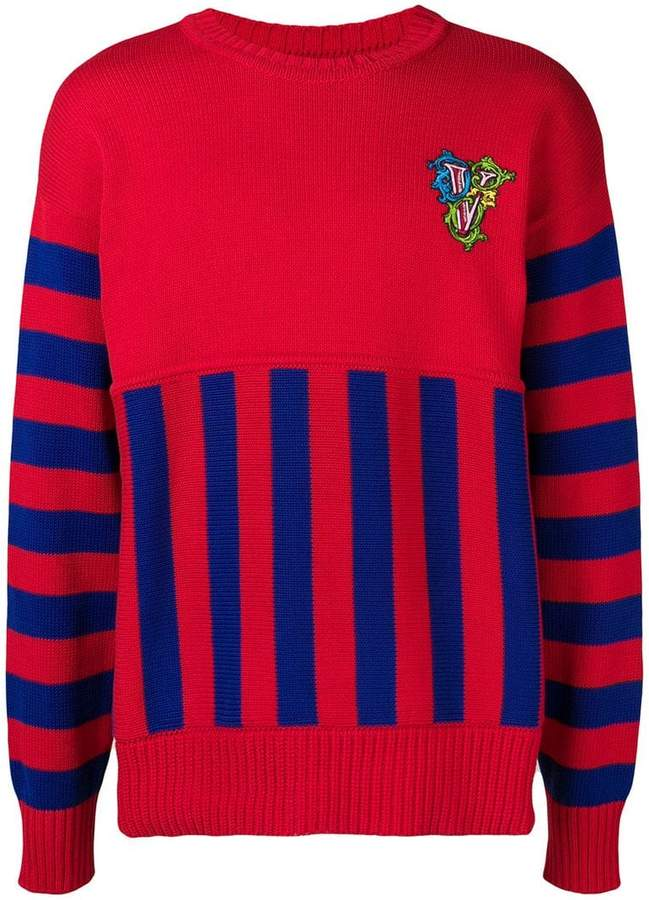 1c3bdc67ac9 Versace crew neck panelled sweater in 2019 | Color | Sweaters ...