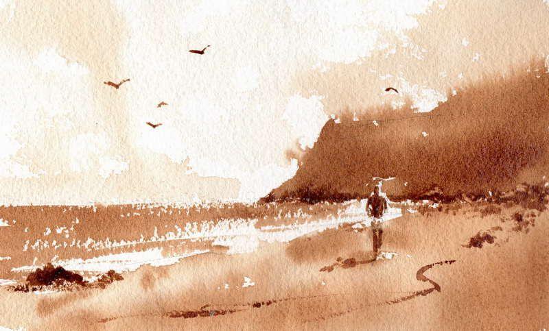 Easy watercolor paintings sketch of simple beach for Coffee watercolor