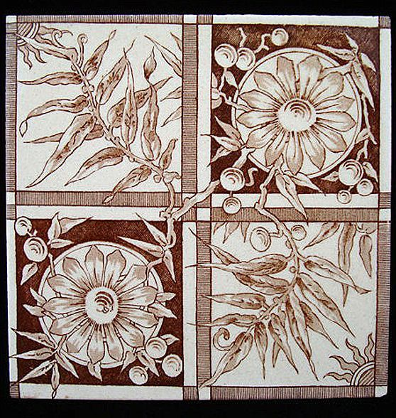 Brown Transferware Tile ~ FERNS and ZINNIAS 1885