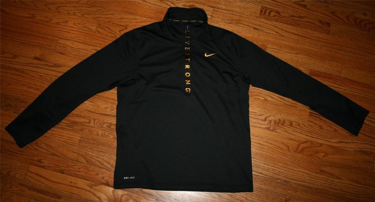4b7d7c6a5e Nike Livestrong Half-zip Pullover Running Cycling Dri-Fit Shirt-Mens Medium- golf