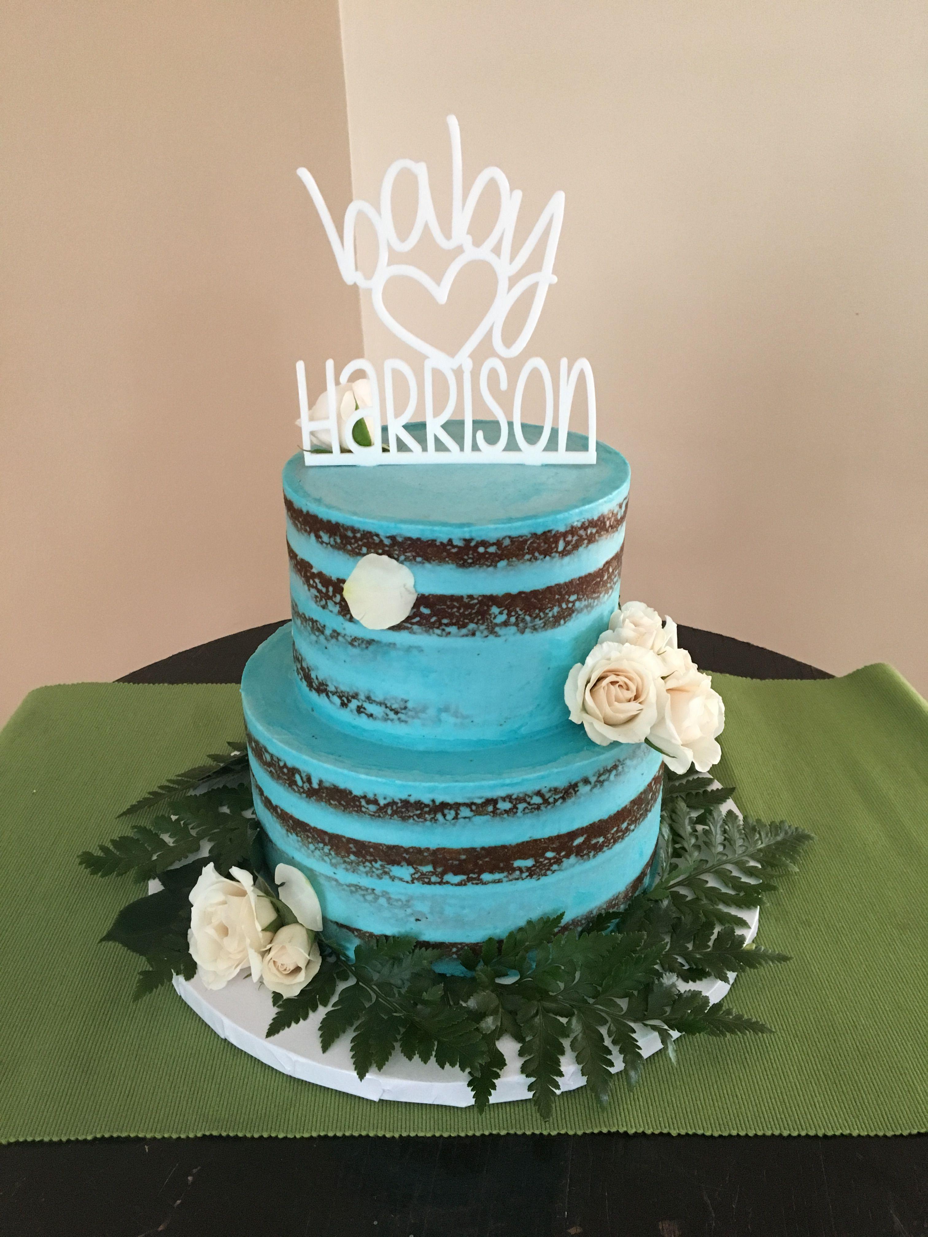 Baby Shower Cake, Baby Shower, Naked Cake, Blue Buttercream, Fresh