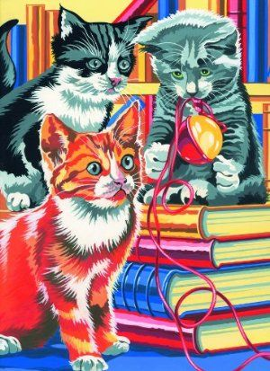 paint by numbers medium kittens on books painting by reeves 9 15