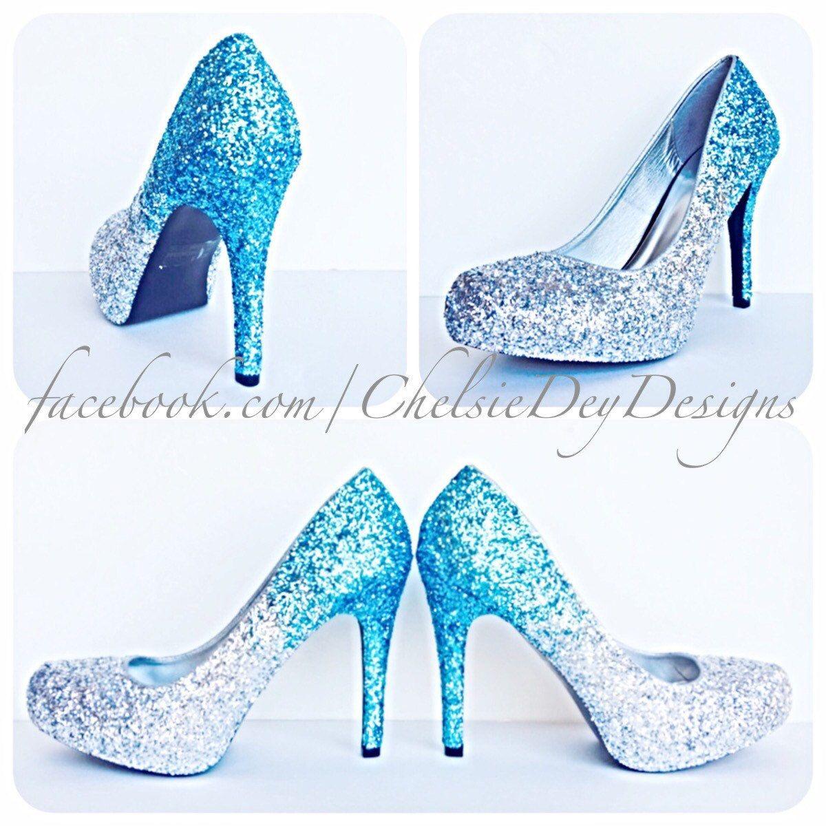 Glitter High Heels Blue And Silver Pumps Aqua Turquoise