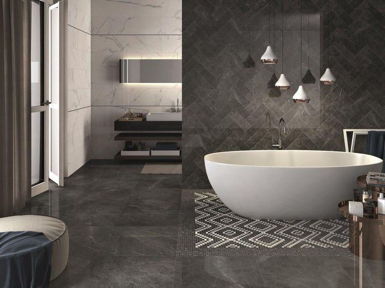 Extrem schwarze Wandfliesen fürs Bad mit Marmor-Effekt | Badezimmer GZ34