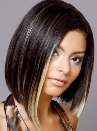 Easy Medium Length Bob Haircuts For Thick Hair Bob Haircut For Fine Hair Hair Highlights Black Hair With Highlights