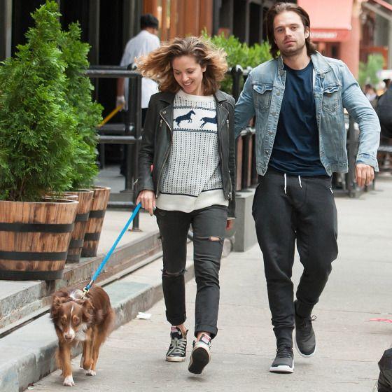 Margarita Levieva and Sebastian Stan walk their dog in New York on Thursday.