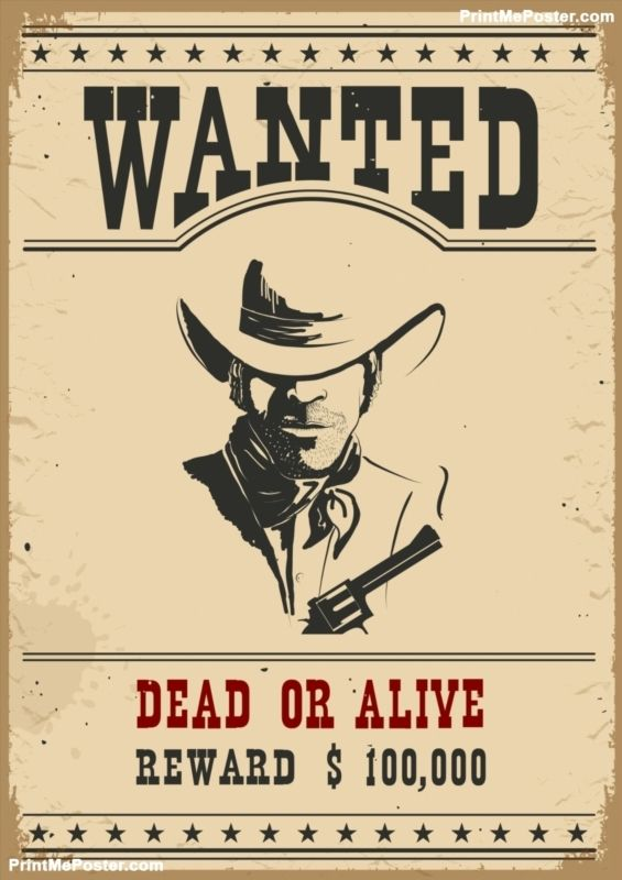 Wanted posterVector western illustration poster Wanted Posters