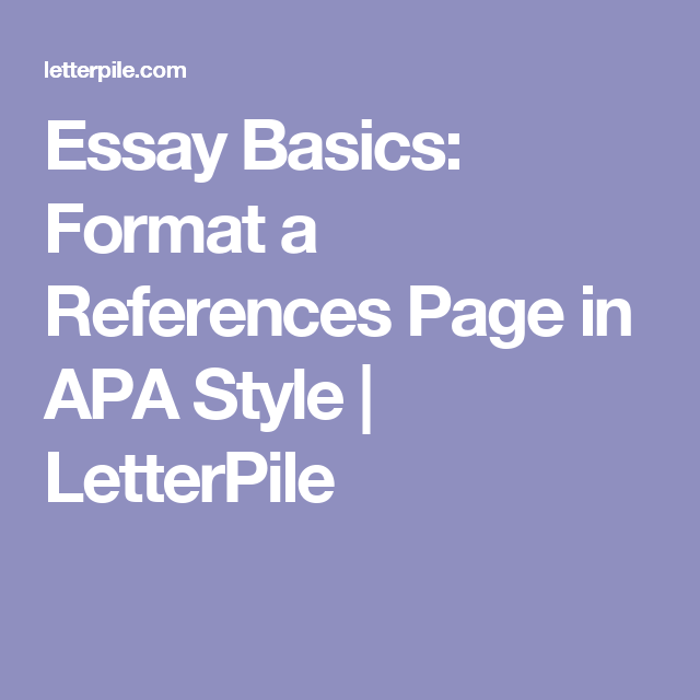 essay basics format a references page in apa style letterpile essay basics format a references page in apa style letterpile