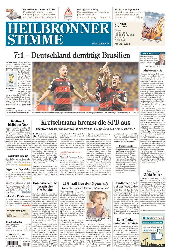 12 German newspapers on their 7-1 win over Brazil - Album on Imgur ...