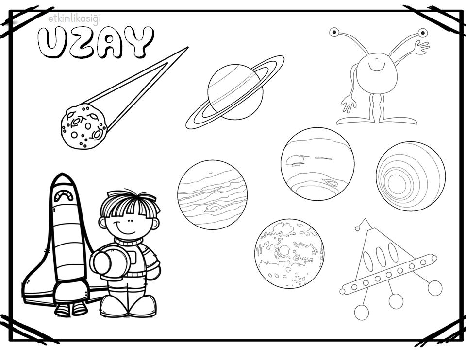 Uzay Boyama Sayfasi Boyama Sayfaları Gezegenler Ve Boyama