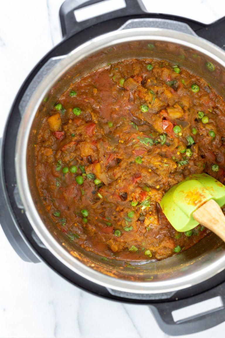 Instant Pot Baingan Bharta Recipe - Spiced Mashed Eggplant. Serve as dip with flatbread or with curries or Dals.