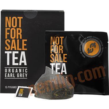 """Earl grey Tea. Not For Sale Tea er en luksus earl grey te for en god sag. Overskuddet går ubeskåret til den nordamerikanske hjælpeorganisation """"Not For Sale"""" som støtter ofre for menneskehandel."""