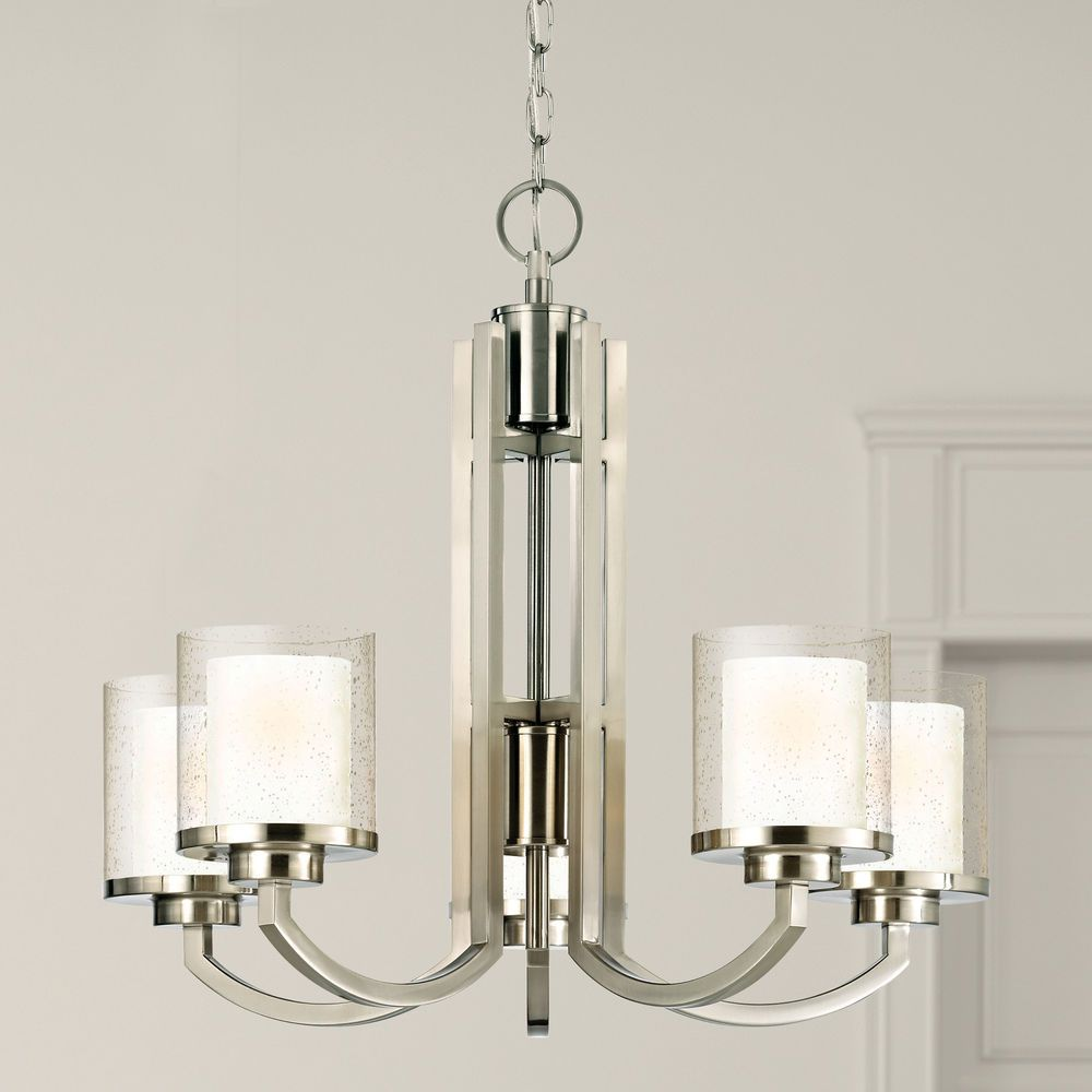 Seeded Glass Chandelier Satin Nickel Dolan Designs At Destination Lighting In 2020 Glass Chandelier Seeded Glass Fluorescent Light Bulb
