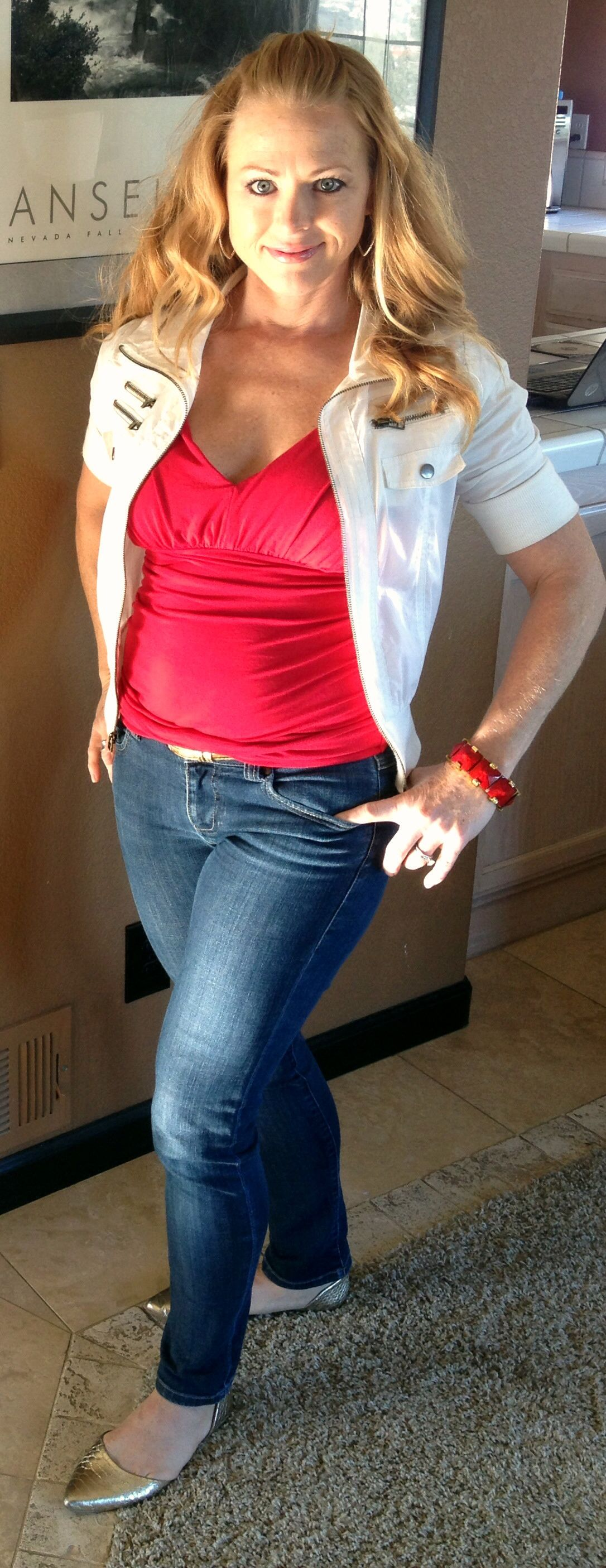 CAbi Grecian Top with CAbi vintage skinny jeans - bible study/mentor meeting