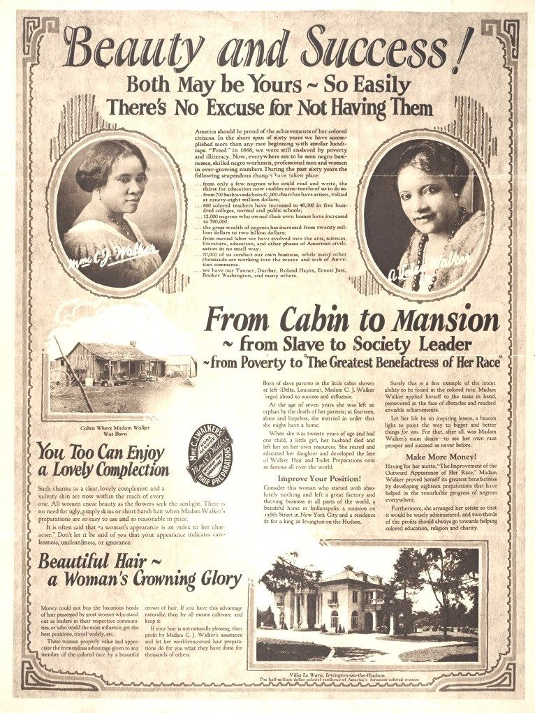 Bathroom pic  BEAUTY & SUCCESS VINTAGE AD (BY MADAM CJ WALKER) Madame C. J. Walker, African American entrepreneur and philanthropi...
