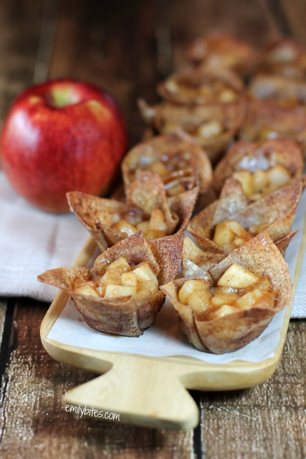 If you crave a lighter way to get the flavors of hot apple pie, these Mini Cinnamon Apple Tarts are for you! Just 45 calories or 1 Weight Watchers point! www.emilybites.com