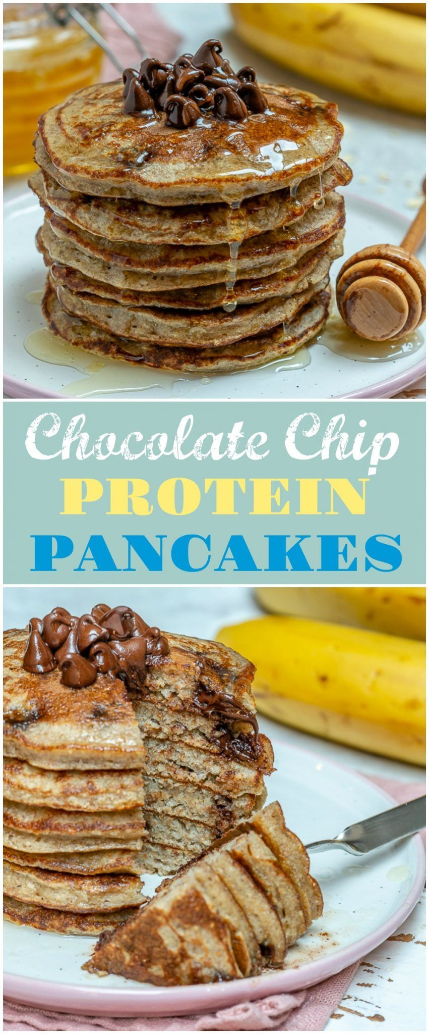 Chip Protein Pancakes These Simple & Clean Chocolate Chip Protein Pancakes are Weekend Winners! | Clean Food CrushThese Simple & Clean Chocolate Chip Protein Pancakes are Weekend Winners! | Clean Food Crush