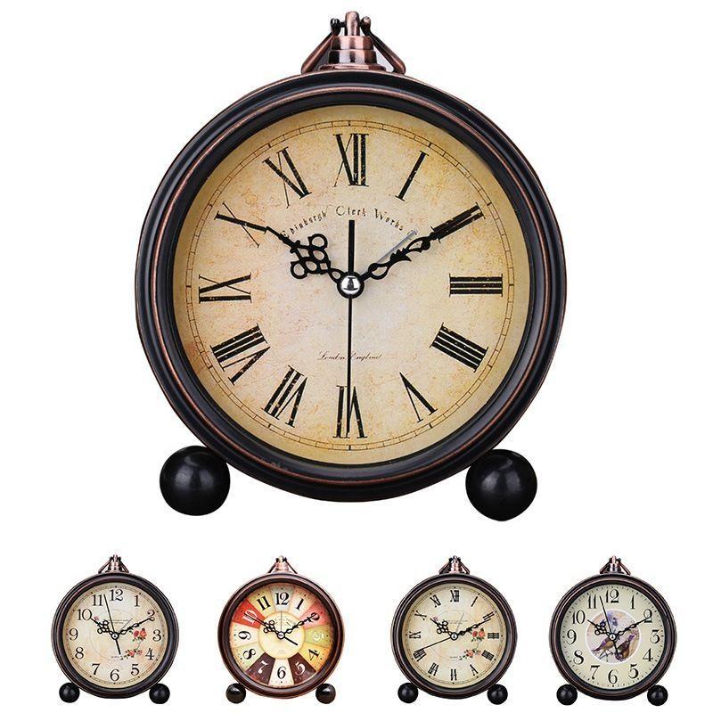 Hot Alarm Clock Metal Antique Round Silent Bedroom Desk Wake Up Analog Clock