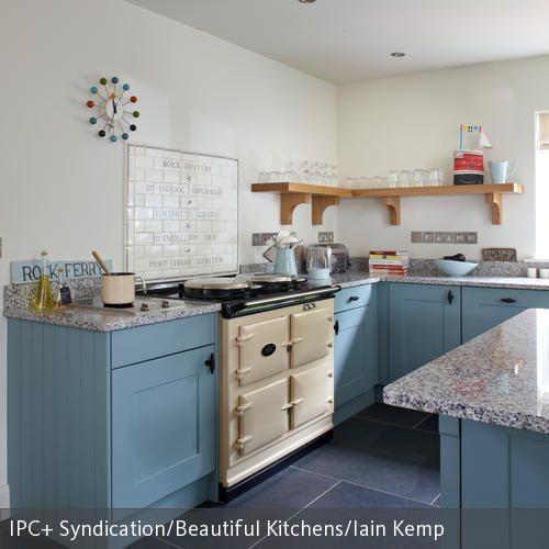Küche in Pastell-Blau Pastell, Sorgen und Plaetzchen - tapete k che abwaschbar