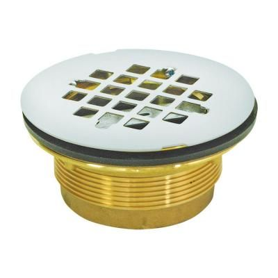 Ez Flo 2 In Brass Ips No Caulk Shower Drain Silver Shower
