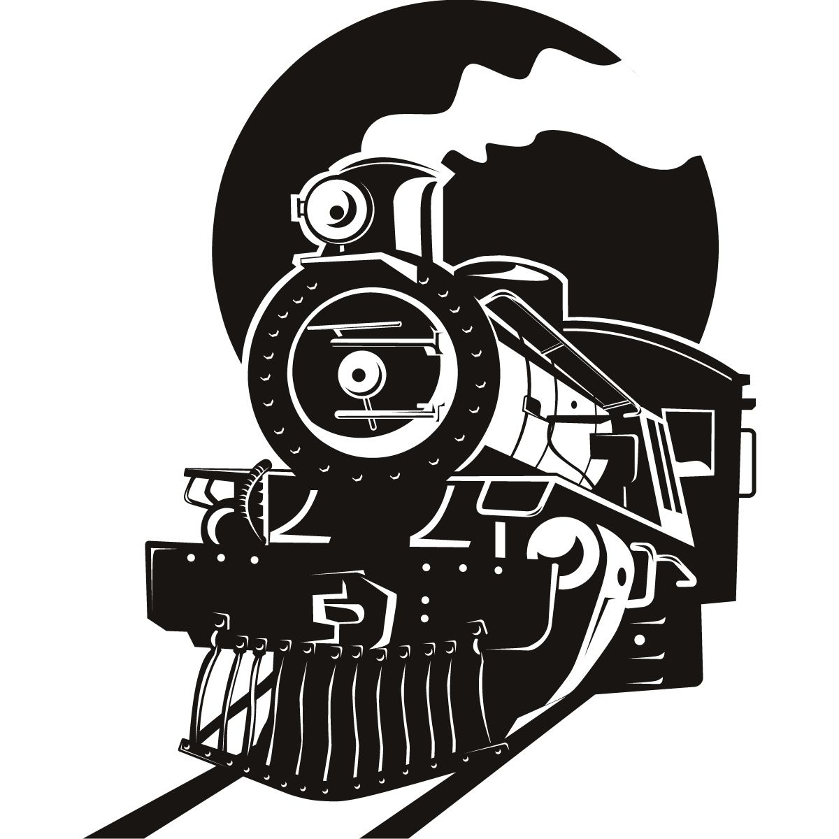 Locomotive Wheel Clip Art : Steam locomotive silhouette