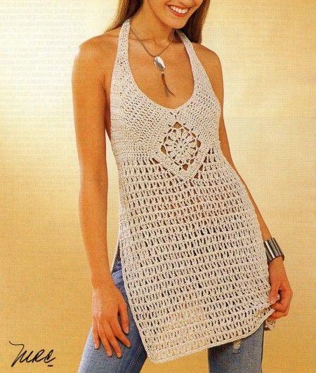Schemi Uncinetto Una Maxi Canotta Color Sabbia Crochet Lace