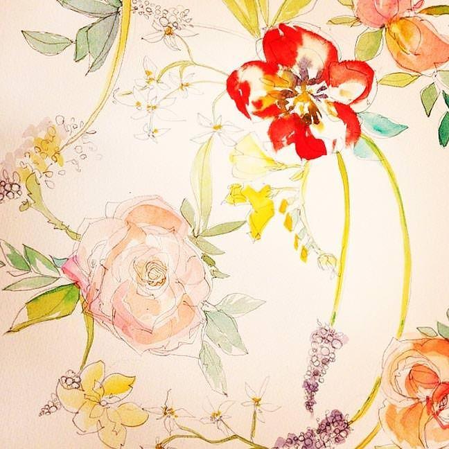 Tulip and Garden Rose Watercolor Repeat Pattern