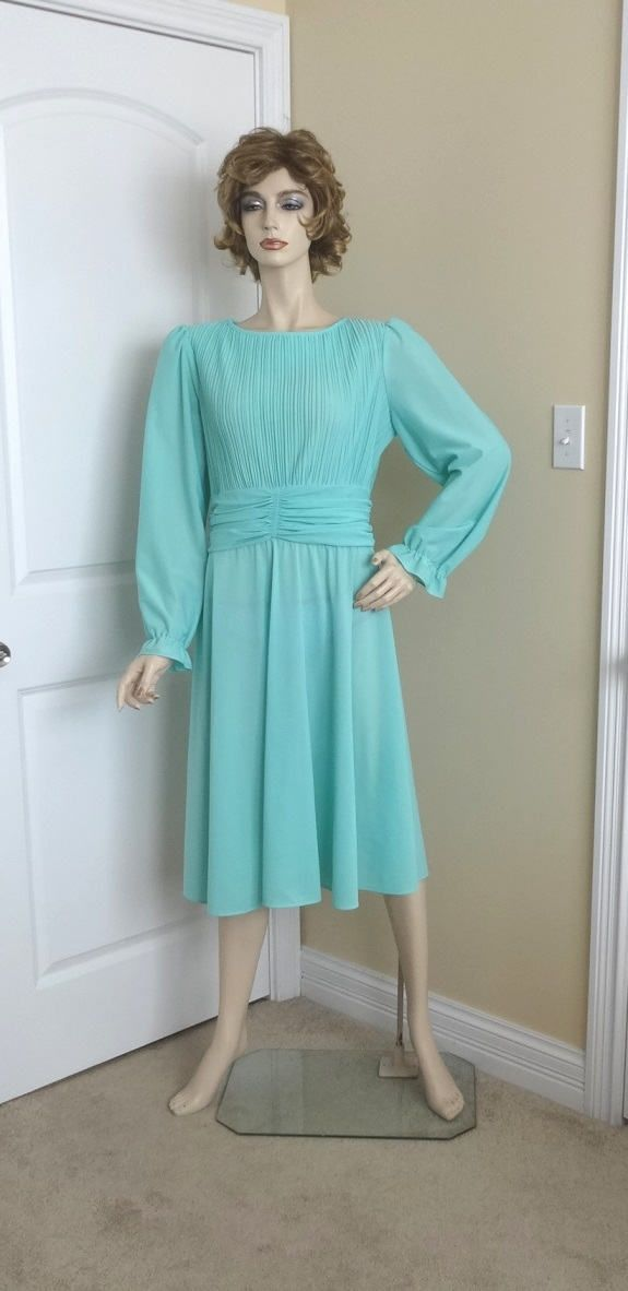 1980s Vintage Boston Maid Pleated Bodice Fashion Dress in Aqua, Size 14, Tiny Pleats, Rouched Waist, Vintage Clothing, Vintage Fashion by VictorianWardrobe on Etsy